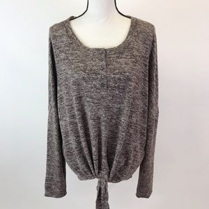 NWT Umgee Chestnut Soft Fleece Knit Tie Front Top
